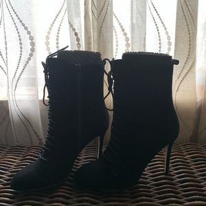 Black suede sexy lacy-up boots, Renvy